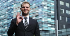 Happy Business Man Looking Camera Hand Gestures Thumb Up Sign Modern Office Day Stock Footage