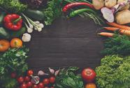 Frame of fresh vegetables on wooden background with copy space Stock Photos