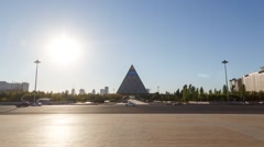 Palace of Peace and Reconciliation at sunset. Astana, Kazakhstan. TimeLapse Stock Footage