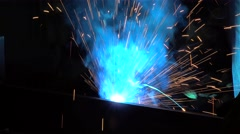 Fountain of sparks during arc welding Stock Footage
