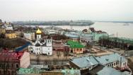 Aerial view of Nizhny Novgorod, Russia Stock Footage