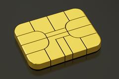 Credit Banking Card Chip or SIM card chip, 3D rendering Stock Illustration