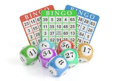 Bingo concept, lottery balls and cards. 3D rendering Piirros