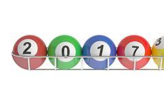 Lottery balls 2017, 3D rendering Piirros