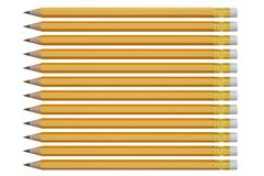 Set of graphite pencils from hardest to softest, 3D rendering Stock Illustration