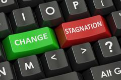 Change or stagnation concept on the road signpost, 3D rendering Stock Illustration