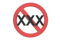 XXX adults only content sign, 3D rendering Stock Illustration