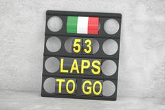 Monza racing, pit board with flag of Italy, 3D rendering Stock Illustration