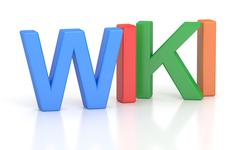 Wiki, colored inscription. 3D rendering Stock Illustration