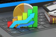 Business, banking and statistic concept on the laptops keyboard, 3D rendering Stock Illustration