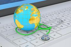 Stethoscope and Globe on laptop keyboard, 3D rendering Stock Illustration