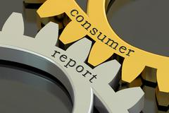 Consumer report concept on the gearwheels, 3D rendering Stock Illustration