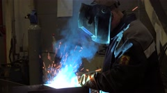 Gas metal arc welding (GMAW) at the Metal structures plant. Stock Footage