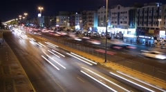 Night traffic rush at wide city road. Wide busy street time lapse, long shot Stock Footage