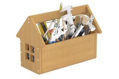 Wooden toolbox with tools, 3D rendering Stock Illustration