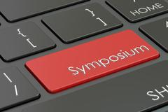 Symposium, red hot key on the keyboard , 3D rendering Stock Illustration