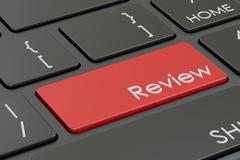 Review concept, red hot key on  keyboard. 3D rendering Stock Illustration