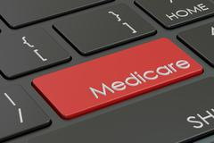Medicare button, red hot key on  keyboard 3D rendering Stock Illustration