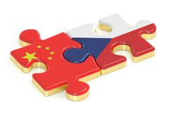 Czech Republic and China puzzles from flags, 3D rendering Stock Illustration