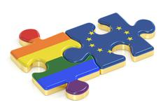 Gay Pride Rainbow and EU puzzles from flags, 3D rendering Stock Illustration