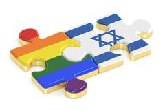 Gay Pride Rainbow and Israel puzzles from flags, 3D rendering Stock Illustration