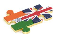 India and UK puzzles from flags, 3D rendering Stock Illustration