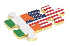 USA and Ireland puzzles from flags, relation concept. 3D rendering Piirros