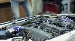 Car engine after cleaning, close up Stock Footage