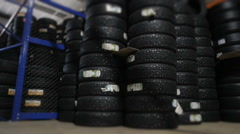 Car Tires At Warehouse In Tire Store Stock Footage
