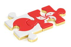 Japan and Hong Kong puzzles from flags, 3D rendering Piirros