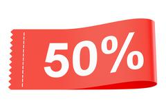 50% discount red clothing label, 3D rendering Stock Illustration