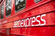 Aeroexpress logo on the train at Kievskiy station Stock Photos