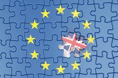 Great Britain and EU puzzles, Brexit referendum concept, 3D rendering Stock Illustration