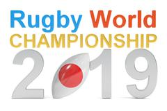 Rugby World Championship 2019 Japan concept, 3D rendering Stock Illustration