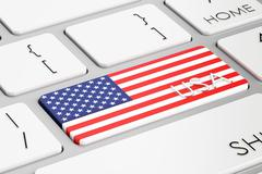 USA flag button on keyboard, 3D rendering Stock Illustration
