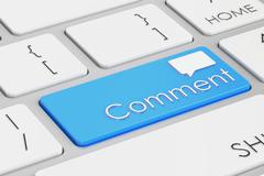Comment blue keyboard button, 3D rendering Stock Illustration
