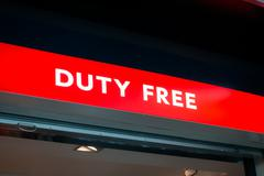 Duty free shop sign in Vnukovo airport at evening Stock Photos