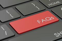 FAQs concept on keyboard, 3D rendering Stock Illustration