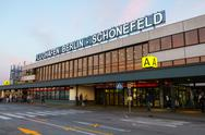 Terminal A building of Schoenefeld airport at day time Stock Photos
