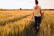 Girl walks on nature Stock Photos