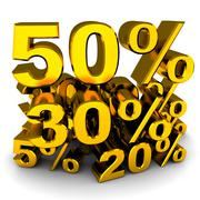 Sale, various percents (gold colour, done in 3d) Stock Illustration