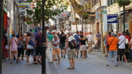 Tourists on Main Street in Gibraltar Stock Footage