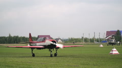 Light plane after planting. Airshow Stock Footage
