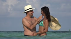 Couple Kissing Married Or Dating Summer Vacation Stock Footage