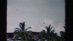 1955: palm tree lined fancy area streets. MIAMI, FLORIDA Stock Footage