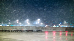 Airplane stuck on airport because of heavy snowfall Stock Footage