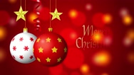 Merry Christmas. Balls, stars and serpentine on red background with bokeh 4K Stock Footage
