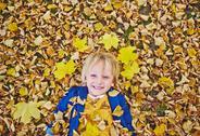 Boy on leaves Stock Photos