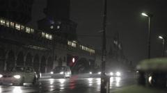 Train and car traffic near Berlin train station, night time Stock Footage