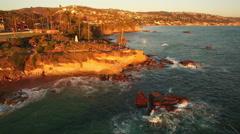 Laguna Beach Sunset Aerial 10 California Coast 4K Stock Footage